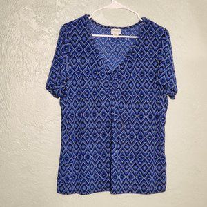 JACLYN SMITH XL SHORT SLEEVE BLOUSE